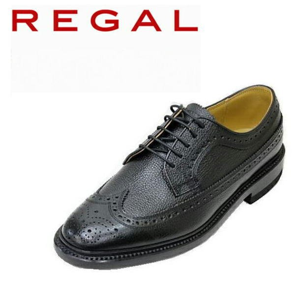 画像1: REGAL(リーガル) 2585N 黒色(ブラック)ウィングチップ革靴 メンズシューズ ビジネスシューズ本革(レザー) (1)